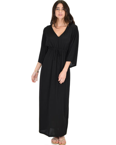 Sunrise to Sunset Kimono Black Maxi Dress