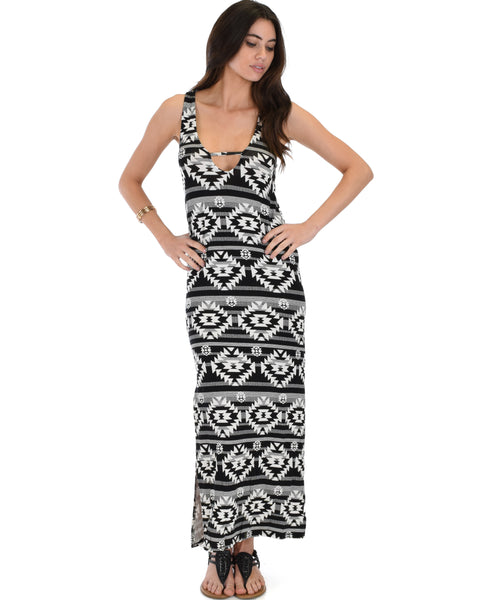 Day Break Black Pattern Maxi Dress