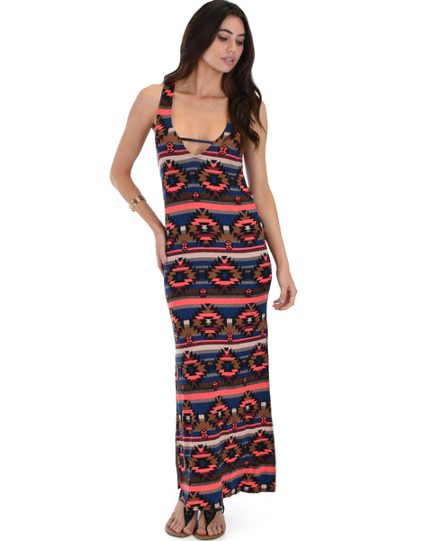 82c38e4ef725 Day Break Navy Pattern Maxi Dress ...