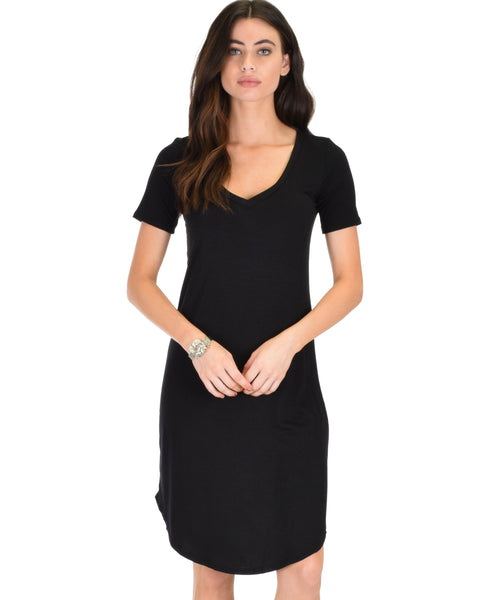 Truly Madly Deep-V Neck Black Sleep Dress