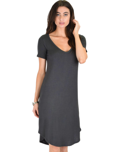 Truly Madly Deep-V Neck Charcoal Sleep Dress