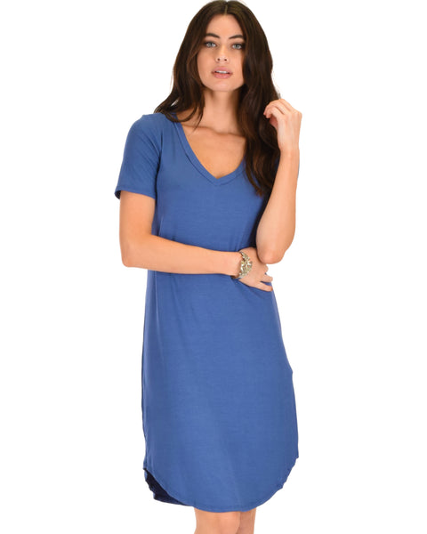 Truly Madly Deep-V Neck Blue Sleep Dress