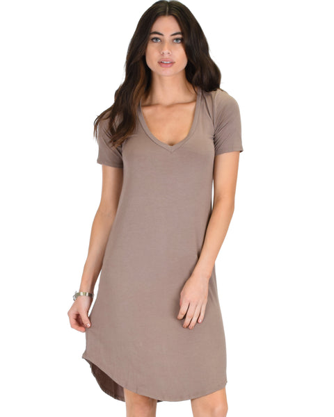 Truly Madly Deep-V Neck Taupe Sleep Dress