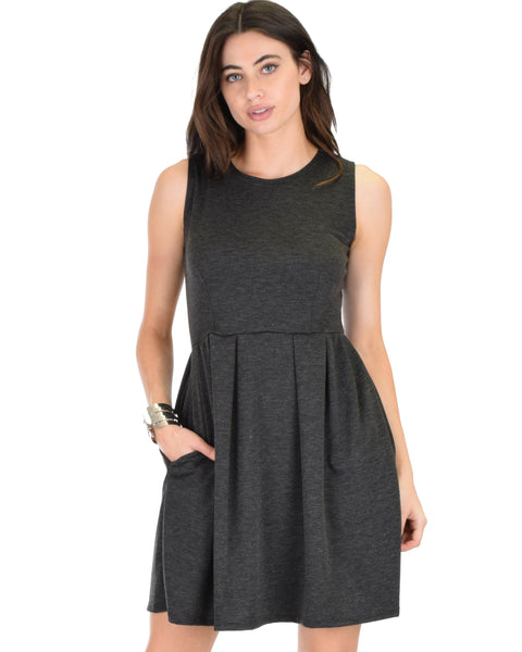 I'm Smitten Charcoal Skater Dress With Pockets