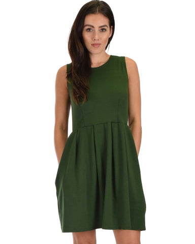 I'm Smitten Olive Skater Dress With Pockets
