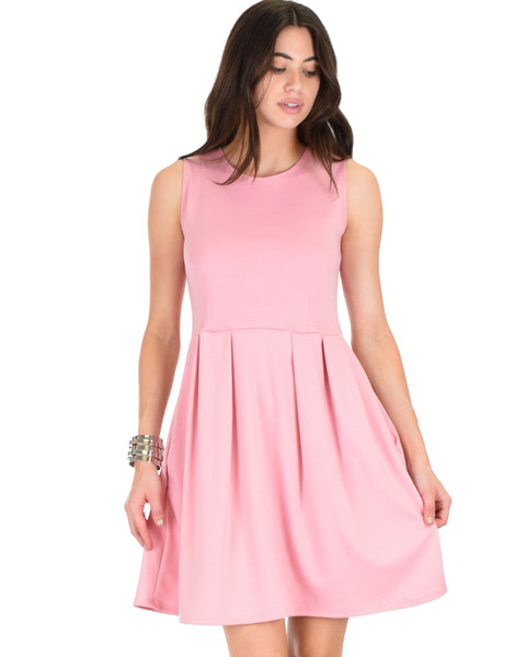 I'm Smitten Pink Skater Dress With Pockets