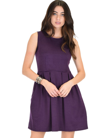 I'm Smitten Purple Skater Dress With Pockets