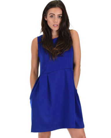 I'm Smitten Royal Skater Dress With Pockets