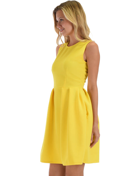 I'm Smitten Yellow Skater Dress With Pockets