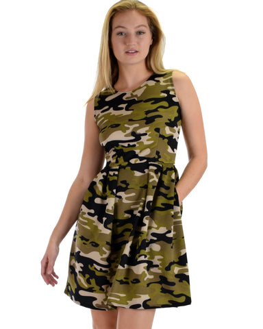 I'm Smitten Army Print Skater Dress with Pockets