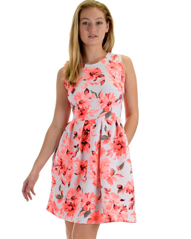 I'm Smitten Coral Floral Print Skater Dress with Pockets