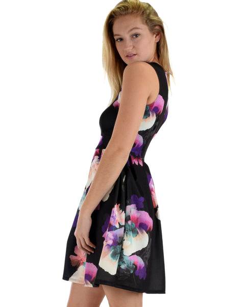 I'm Smitten Purple Floral Print Skater Dress with Pockets