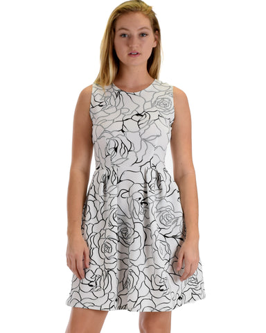 I'm Smitten Silver Floral Print Skater Dress with Pockets