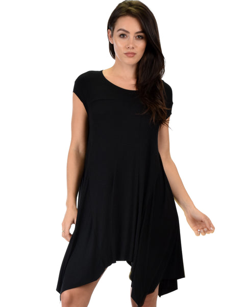 Raw Edge Draped Black T-Shirt Dress
