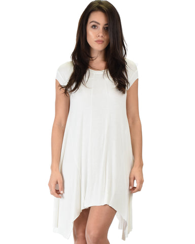 Raw Edge Draped Ivory T-Shirt Dress