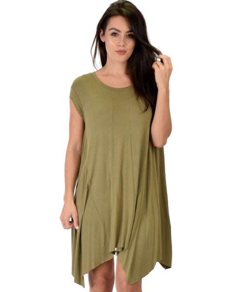 Raw Edge Draped Olive T-Shirt Dress