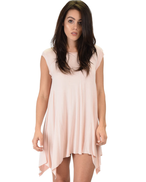 Raw Edge Draped Pink T-Shirt Dress