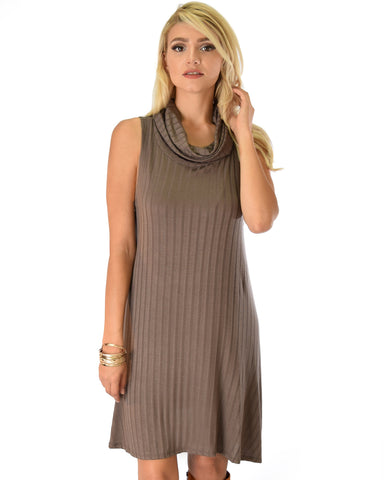 Groove Thing Ribbed Cowl Neck Brown Shift Dress