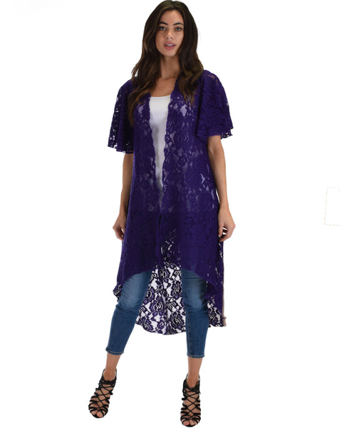 Lyss Loo Women's Simple Pleasure Purple Lace Kimono Cardigan