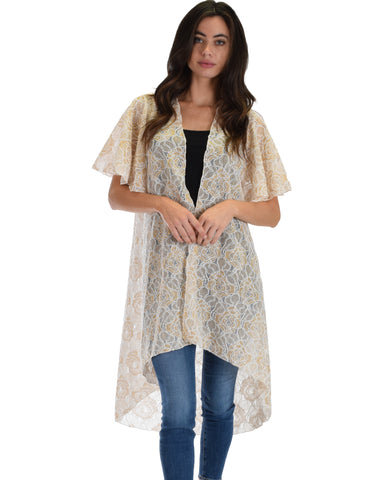 Lyss Loo Women's Simple Pleasure White Gold Lace Kimono Cardigan