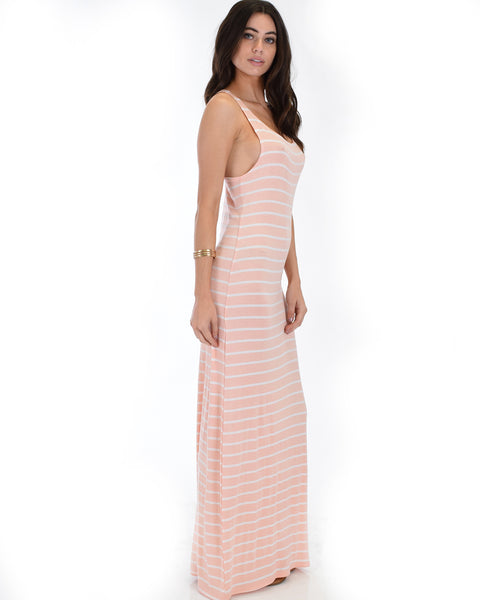 Racerback Striped Pink Maxi Dress