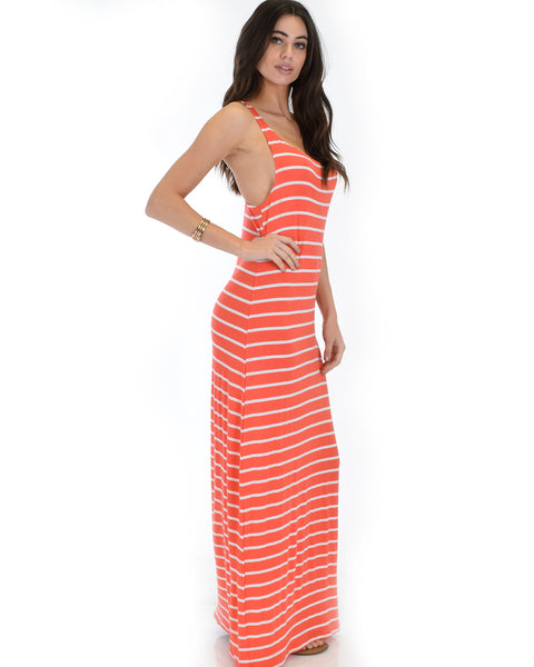 Racerback Striped Coral Maxi Dress