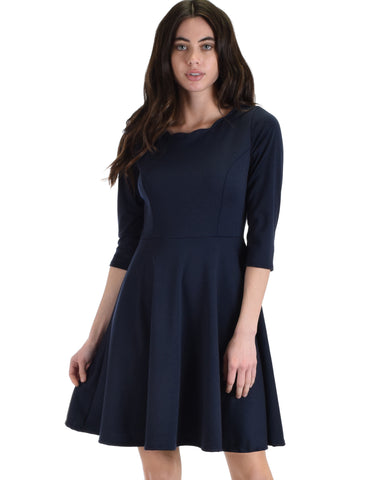Lyss Loo So Good Navy Scallop Neck Line Skater Dress