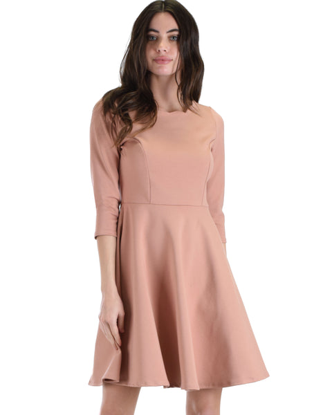 Lyss Loo So Good Rose Scallop Neck Line Skater Dress