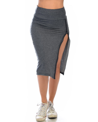 High On Life Charcoal Midi Skirt