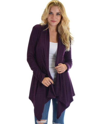 Body Slimming Draped Ribbed Purple Cardigan