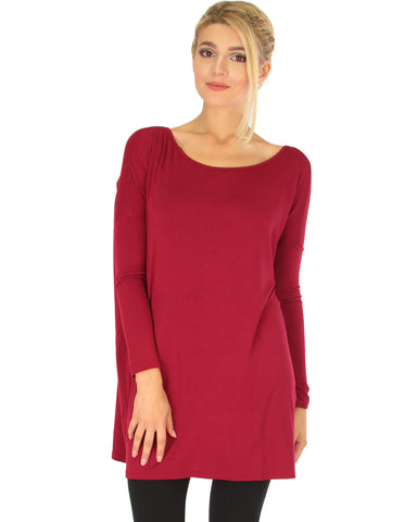 Better Together Over-Sized Long Sleeve Burgundy Tunic Top