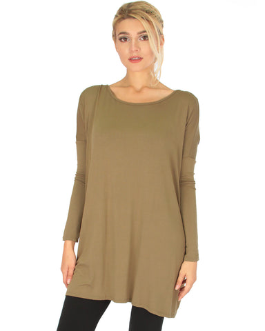 Better Together Over-Sized Long Sleeve Olive Tunic Top