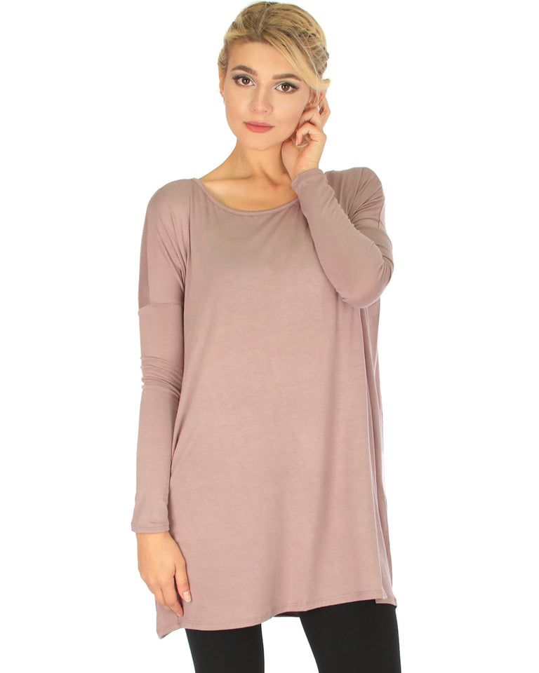 4498a78f19f Lyss Loo Better Together Over-Sized Long Sleeve Taupe Tunic Top