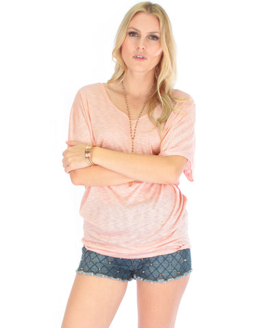 Contemporary Dolman Pink Slub Tunic Top