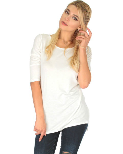 Timeless Side Slit Ivory Tunic Top