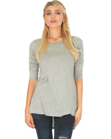 Timeless Side Slit Grey Tunic Top