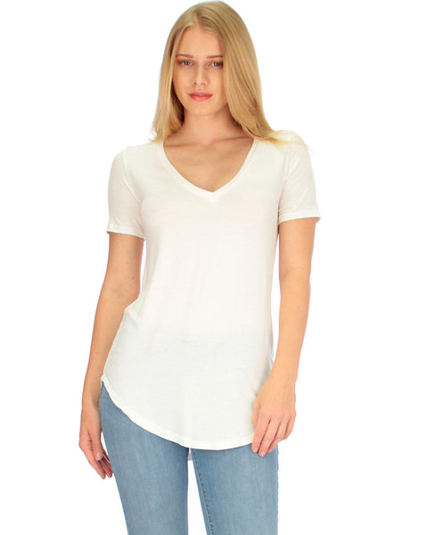 Truly Madly Deep-V Neck Ivory Tunic Top