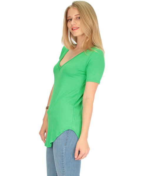 Truly Madly Deep-V Neck Green Tunic Top