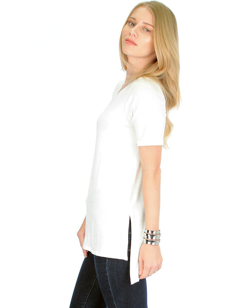 Side by Side Slit Ivory Tunic Top