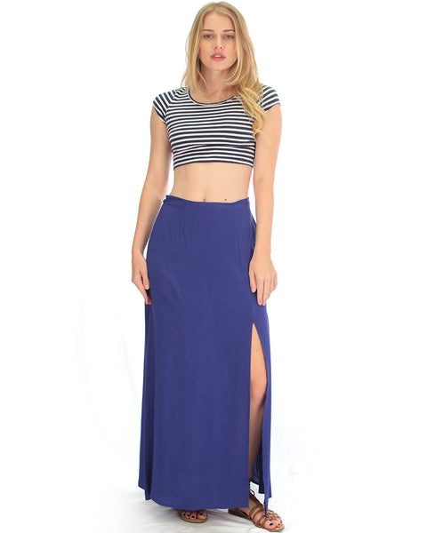 Seaside Royal Maxi Skirt With Side Slit