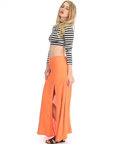 Seaside Orange Maxi Skirt With Side Slit