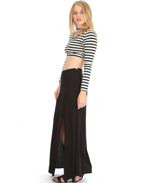 Seaside Black Maxi Skirt With Side Slit