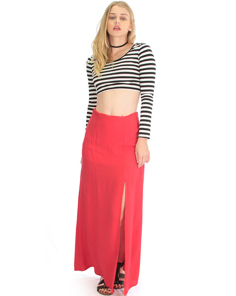 Seaside Red Maxi Skirt With Side Slit