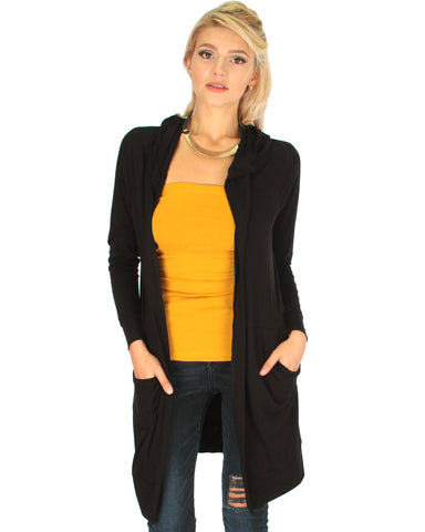 Long-Line Hooded Black Cardigan With Pockets