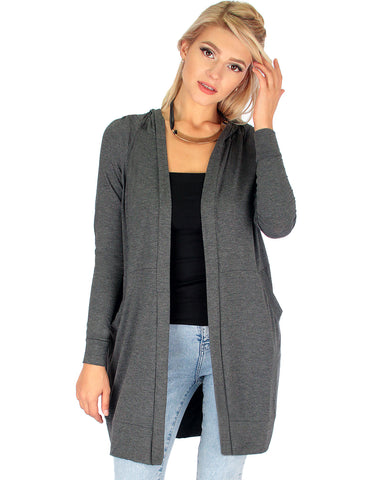 Long-Line Hooded Charcoal Cardigan With Pockets