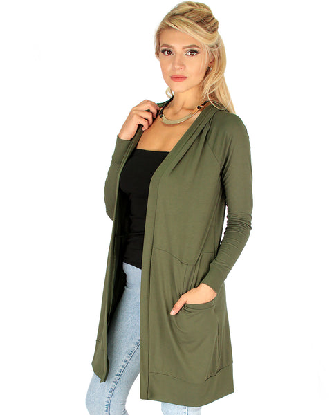 Long-Line Hooded Olive Cardigan With Pockets