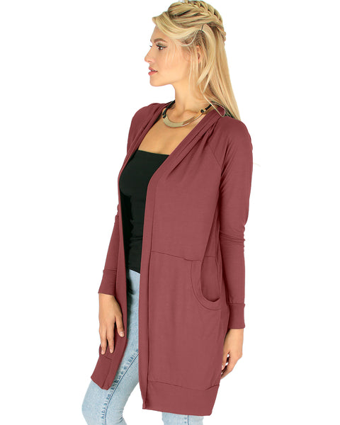 Long-Line Hooded Marsala Cardigan With Pockets