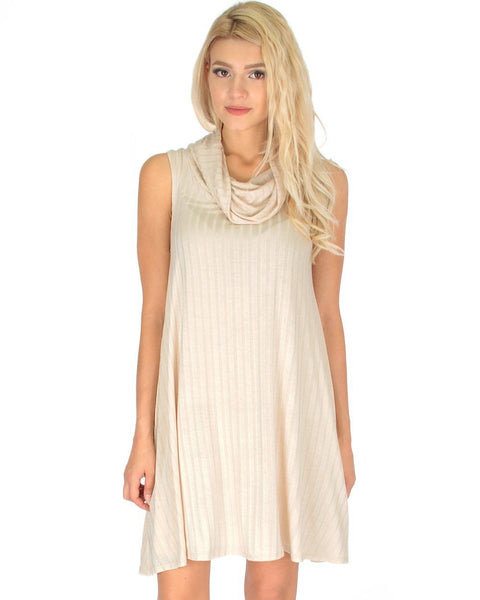 Groove Thing Ribbed Cowl Neck Ivory Shift Dress