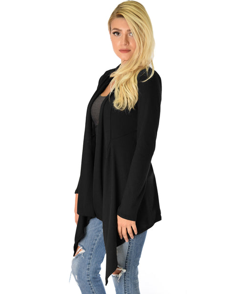 Body Slimming Draped Ribbed Black Cardigan