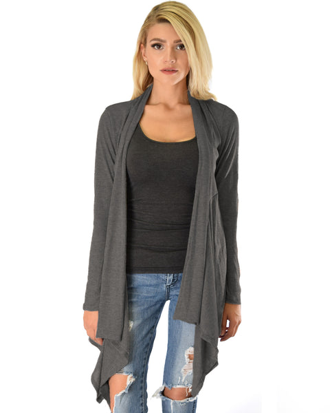 Body Slimming Draped Ribbed Charcoal Cardigan